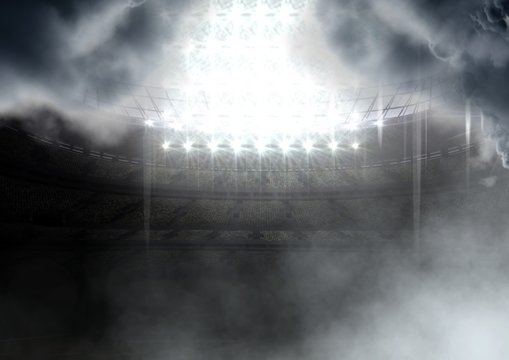 american football stadium in clouds