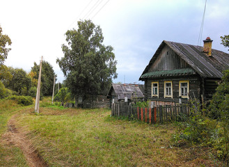 Landscape with an old rustic house