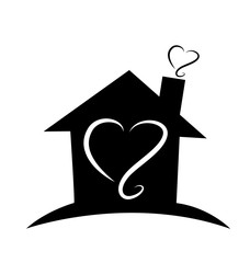 Loving home, with heart silhouettes, icon vector