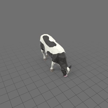Stylized cow eating