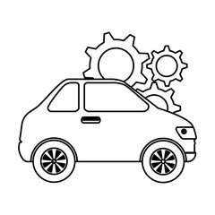 car vehicle with gears vector illustration design
