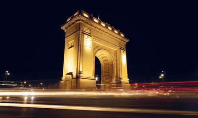 The Triumphal Arch (Arcul de Triumf) in Bucharest, the capital of Romania. Historic monument