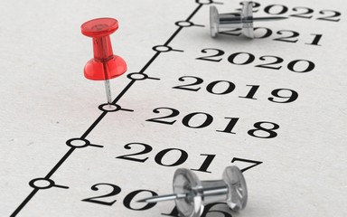 2018 - Rote Pinnadel auf Zeitleiste