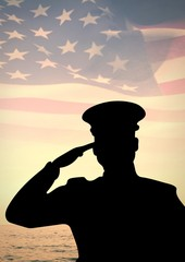 veterans day soldier in front of flag