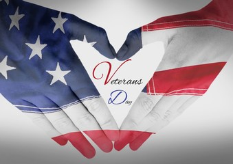 Veterans day, flag usa on hands with text