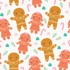 Cute Gingerbread Cookie Sweets Illustration Seamless Pattern