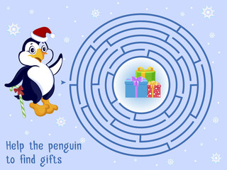 Children's puzzle and Help the penguin to find gifts. Maze. Vector