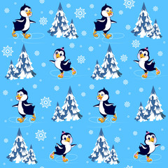 Seamless pattern Penguins skate in the winter