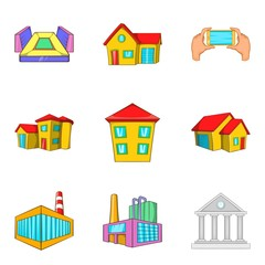 Dirty district icons set, cartoon style