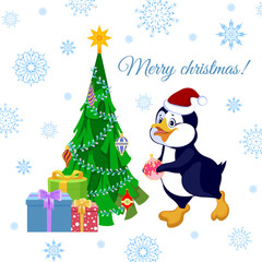 Christmas greeting card with a penguin decorating a Christmas tree. Vector