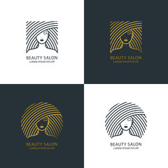 Female line illustration. Vector logo, emblem design. Beauty salon, makeup cosmetic, haircare. Golden womens face.