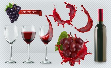 Red wine. Glasses, bottle, splash, grapes. 3d realistic vector icon set Fototapete