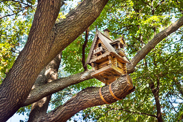Wooden small hut birdhouse on a tree among the leaves. Carved wooden birdhouse in the form of a log house