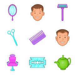Different hairstyle icons set, cartoon style