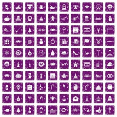 100 holidays icons set grunge purple