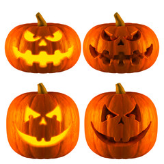 3D Rendering of Jack O Lantern or Halloween Pumpkin Head With 2 Difference Type of Bad smile Isolated White Background.
