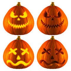 3D Rendering of Jack O Lantern or Halloween Pumpkin Head With 2 Difference Type of bad smile and dejected Isolated White Background.