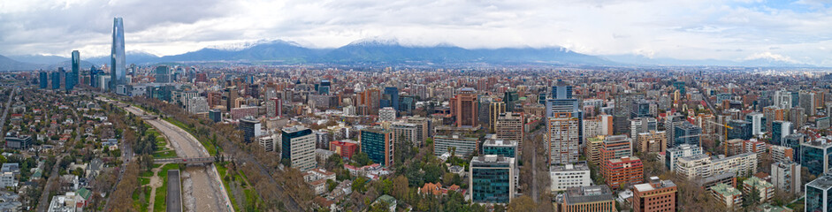 Santiago de Chile Aerial Panoramic View of City Skyscrapers Mountains Landscape