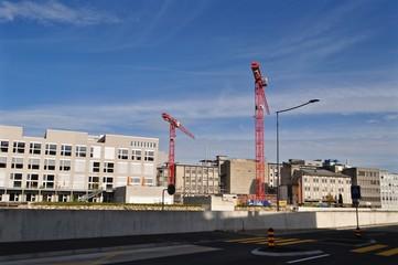 Reussbühl - Emmen, Industrie und Gewerbe Gebiet mit Baukranen