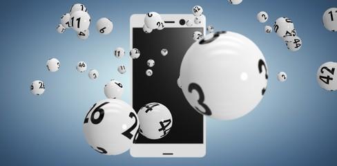 Composite image of 3d image of white bingo balls