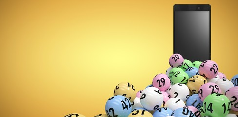 Composite image of 3d image of colorful bingo balls