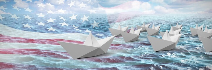 Composite image of paper boats made of origami