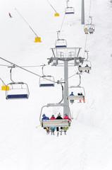 Ski lift, skiing, winter resort