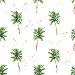 Watercolor seamless pattern. Watercolor palm tree seamless floral pattern
