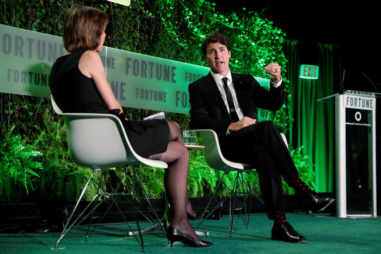 """Canadian Prime Minister Justin Trudeau speaks at the 2017 Fortune magazine's """"Most Powerful Women"""" summit in Washington"""