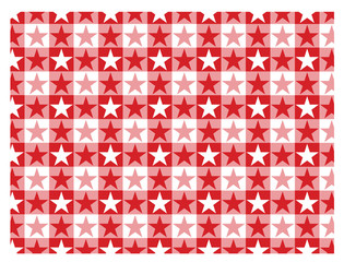 Star pattern in red and white squares