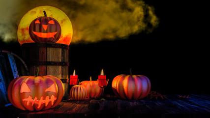 Halloween pumpkin on wooden table
