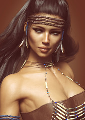 Close up portrait of a posing native American female wearing traditional dress. 3d rendering