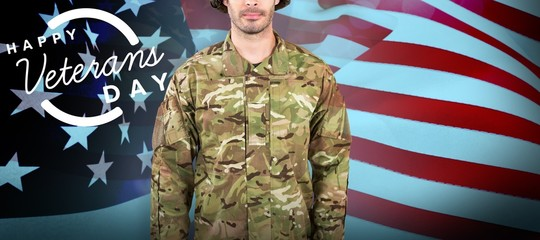 Composite image of portrait of confident soldier standing