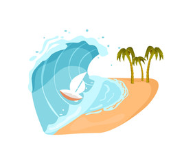 Ocean tsunami isolated icon. Natural disaster and danger catastrophe. Warning about emergency situation vector illustration in cartoon style.
