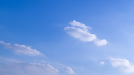 bright blue sky with clouds and sun. cumulus, background, weather.
