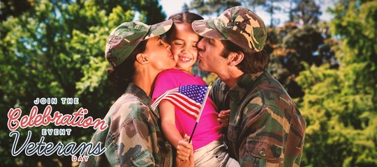 Composite image of army couple kissing daughter