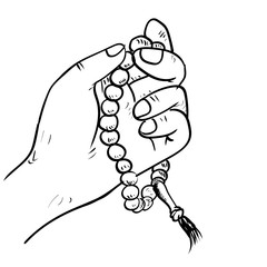 Hand drawn Hand holding Beads- Drawing Vector
