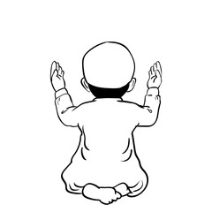 Hand drawn Muslim Boy Praying -Vector Cartoon Illustration
