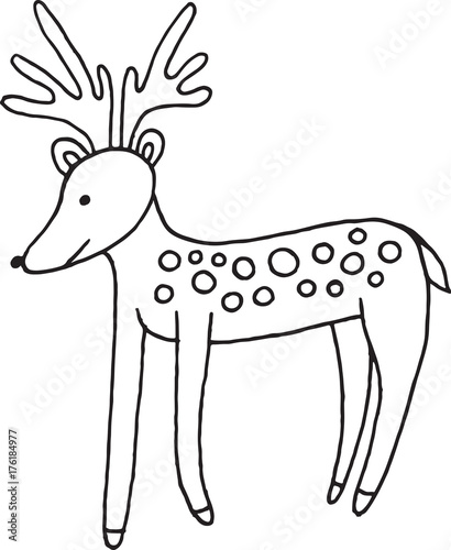 forest animal deer doodle cartoon simple illustration kids drawing style coloring page