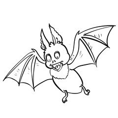 Hand drawing Bat Cartoon for halloween concept -Vector Illustration