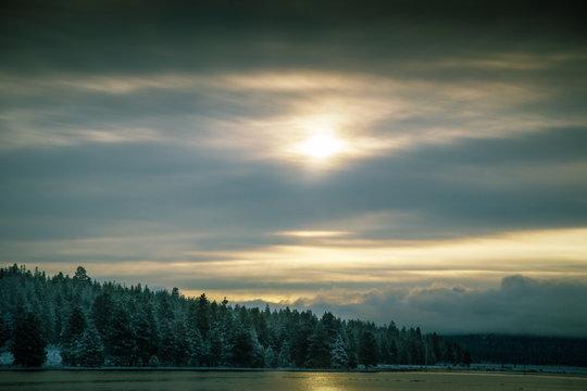 Icy winter sunrise reflection