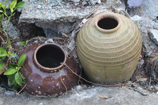 Old Ceramic Chinese Pots in a Village in Guangdong Canton China Asia