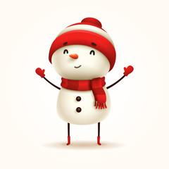 Cheerful Snowman. Vector illustration of snowman on white background. Isolated.
