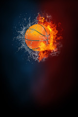 Basketball sports tournament modern poster template. High resolution HR poster size 24x36 inches, 31x91 cm, 300 dpi, vertical design, copy space. Basketball ball exploding by elements fire and water.