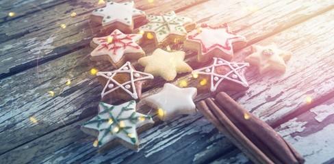Gingerbread cookies arranged in christmas tree shape