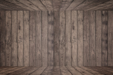 Wooden wall and floor in perspective view, grunge background. for put product on the floor,.