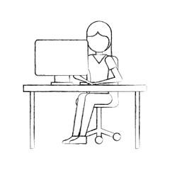 girl sitting working laptop program technology