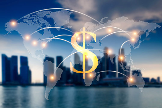 Dollar money world map. Global world map on business financial network city background