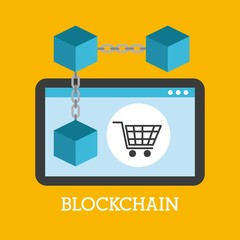 blockchain technology device shopping online vector illustration