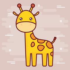 cute giraffe icon over brown background colorful design vector illustration